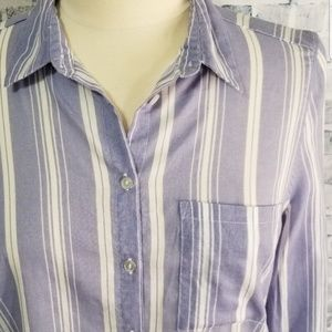 H&M Divided Blue & White Striped Button Down Top 4